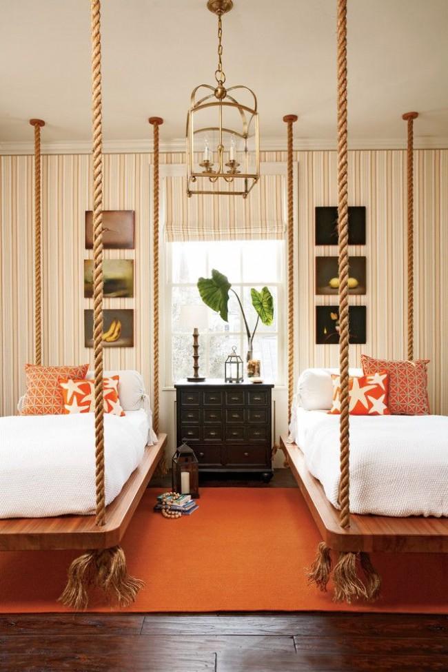 Необычные подвесные односпальные кровати