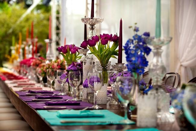 Необыный прием в декорировании свадебного стола: градиентный переход цвета