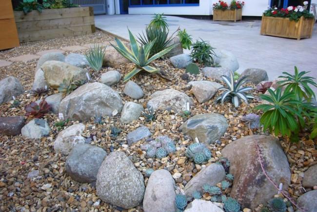Рокарий из камней светлых пород и южных растений