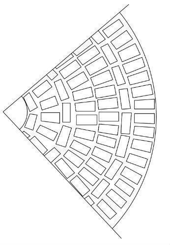 Рис. 3. Схема раскладки плитки при полукруглом методе мощения.