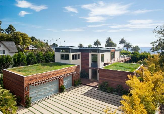 Плоская крыша с газоном на ней