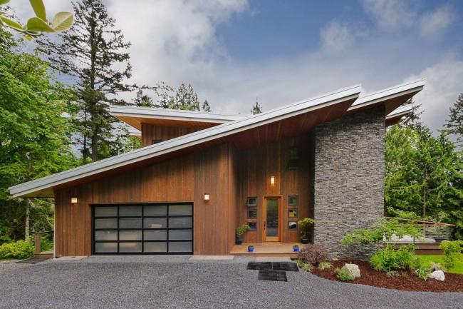 Односкатная крыша в современном стиле