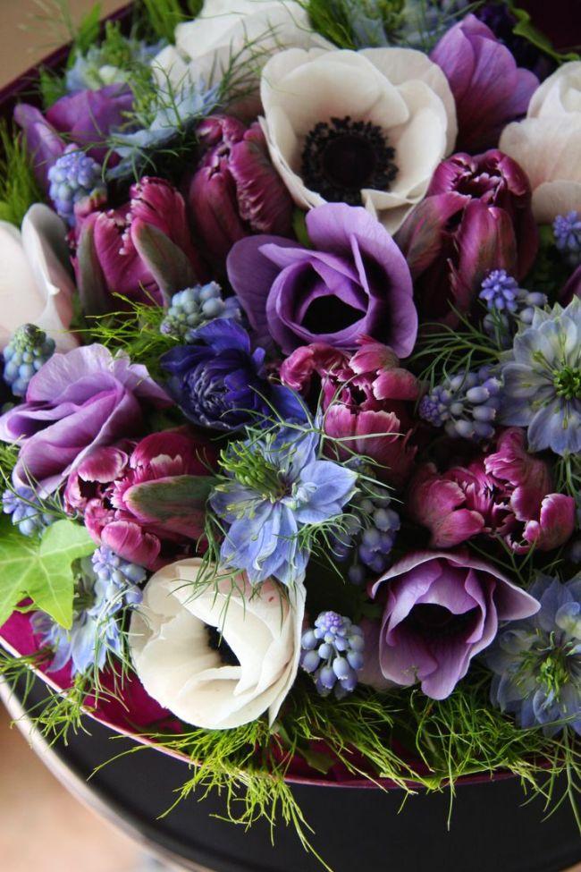 Композиция в лиловых тонах: тюльпаны, мускари и анемоны