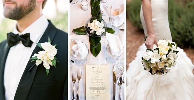 """Гардения - один из любимейших и популярных цветков в свадебной флористике. Получив еще в давности название """"петличный цветок"""", за то, что он очень часто украшал петлицы сюртуков и смокингов английских джентльменов, сейчас он используется также и для декора свадебных столов и залов, и для букетов"""