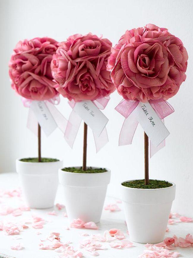 Как создать домашний топиарий. Скромные, но очень красивые романтичные топиарии как часть свадебного декора столов для гостей