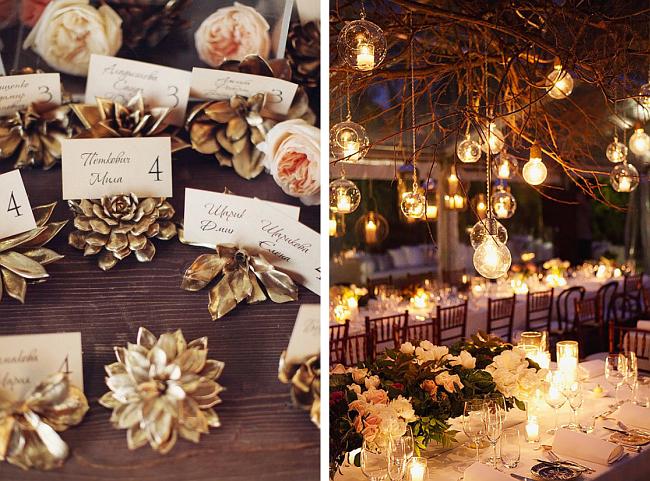 Теплая цветовая гамма оформления свадебного зала в осенней тематике