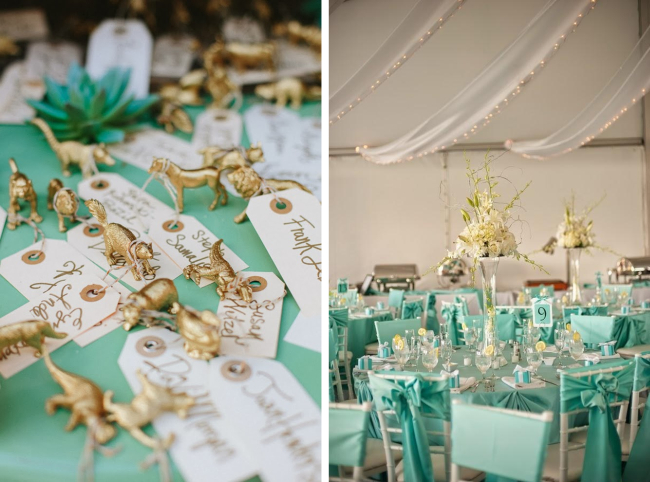 Оформление зала на свадьбу: всегда актуальный цвет tiffany blue составит неподражаемое сочетание с золотом и серебром в цвете элементов декора