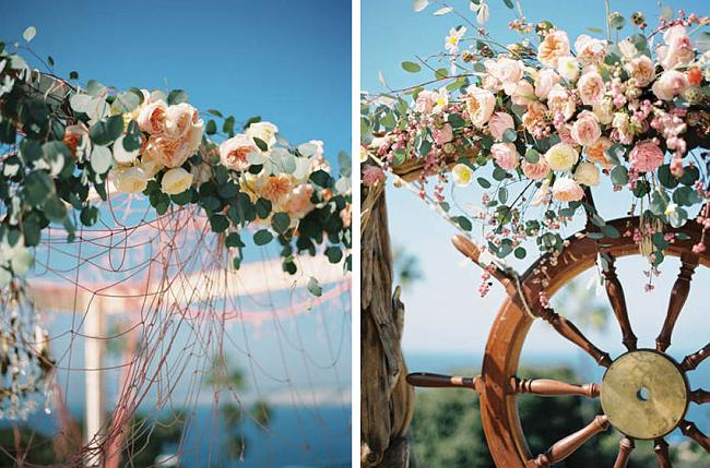 Оформление зала на свадьбу: не совсем традиционная, но очень романтичная морская тематика свадебного декора