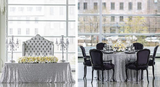 Оформление зала на свадьбу: урбанистическая роскошь: серебристая скатерть как акцент в необычном оформлении свадебного банкетного зала