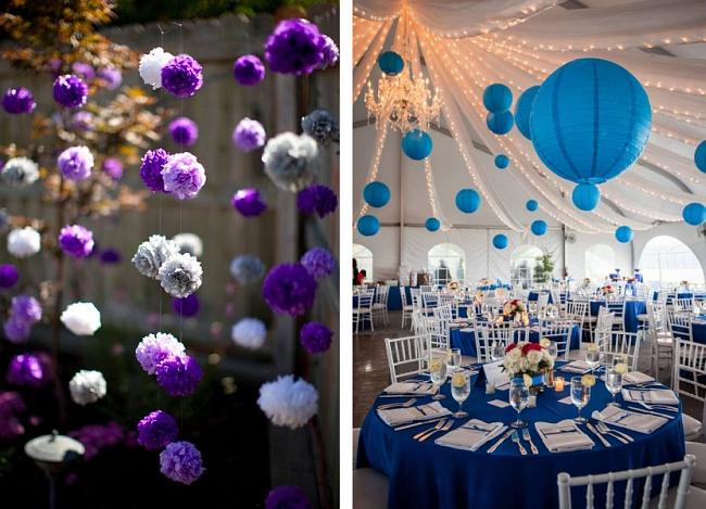 Оформление зала на свадьбу: пространство для творчества в бумажном декоре свадебного зала очень большое: цветы, фонарики, гирлянды и другое