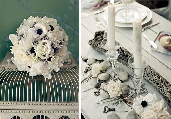 Яркий тренд последних лет - черно-белая свадьба. Существует уже немало зарекомендовавших себя находок для декора свадебного зала в серебристом, сизом, черно-белых цветах, например, букеты с анемонами. Такую идею можно воплощать, даже если стены зала пастельные или цветные