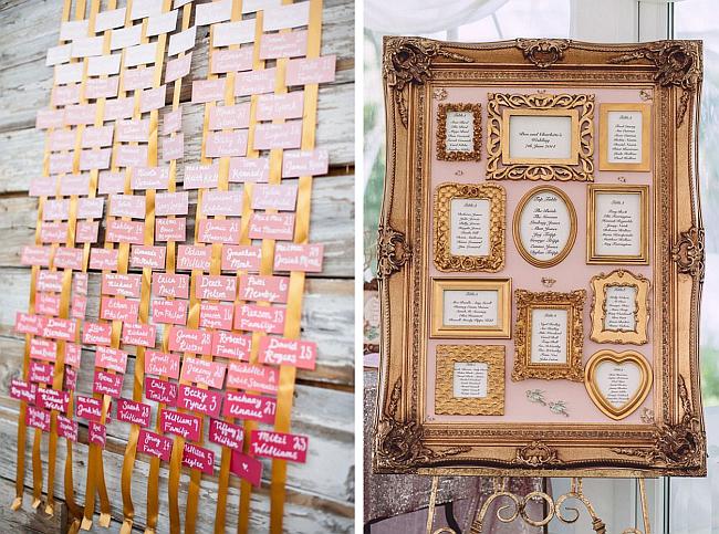Две идеи для организации рассаживания гостей в банкетном зале: 1. подвесной омбре- (градиентный) декор из именных карточек с номером стола; 2. карта столов в золоченой раме