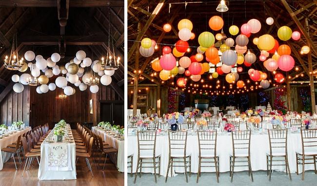 Оформление зала на свадьбу. Два варианта оформления зала бумажными фонариками: белыми с золотом или яркими разноцветными