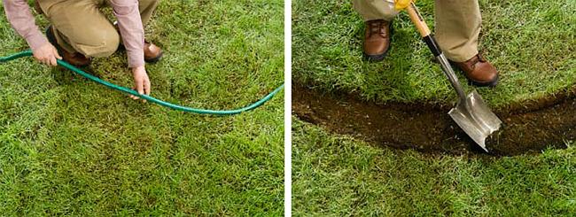 Ограждение для клумб своими руками. Выложите с помощью веревки или шланга контуры будущего бордюра. По этому контуру выкопайте траншею шириной около 20 см и глубиной около 10 см и утрамбуйте почву в ней