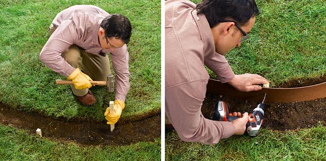 Ограждение для клумб своими руками. Вбейте деревянные бруски размером 2.5х2.5х30см на расстоянии около 45 см друг от друга. Шурупами прикрепите к ним гибкую ленту из оргалита или ДВП