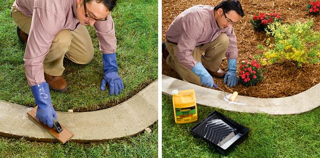 Ограждение для клумб своими руками. После гидрации бетона можно окончательно разровнять и отшлифовать поверхность бордюра. Покройте бордюр акриловым герметиком и оставьте сохнуть на 3-5 дней. Готовый бордюр в траншею на газоне уложите на слой дерна