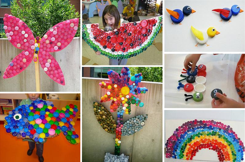 Поделки из крышек от пластиковых бутылок для детей в детский сад