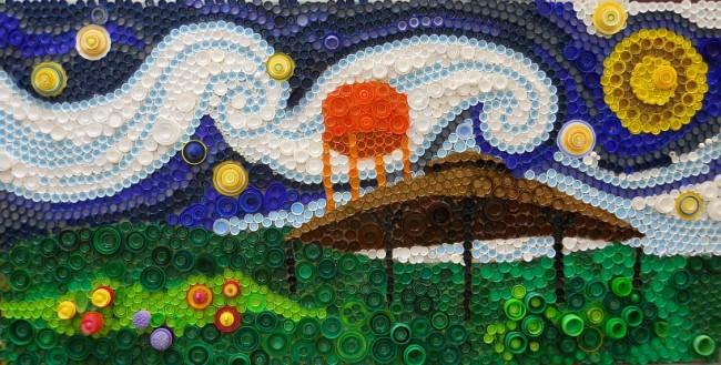 Поделки из пробок от пластиковых бутылок. Для детских площадок можно выбирать самые веселые сюжеты и выкладывать из их разноцветных крышек вместе с детьми
