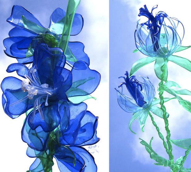 Лёгкие цветы из пластиковых бутылок своими руками