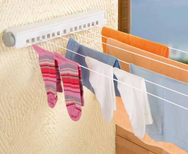 Потолочная сушилка для белья на балкон. Раздвижная сушилка с компактно сматывающимися бельевыми веревками занимает минимум места