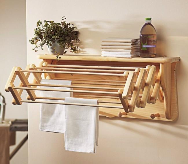 Потолочная сушилка для белья на балкон. Складывающася сушилка из дерева сохранит максимально эстетичный вид балконного пространства