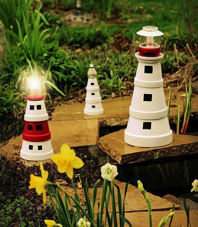 Украшения для сада своими руками. Садовые маяки, сделанные из раскрашенных керамических горшков для растений
