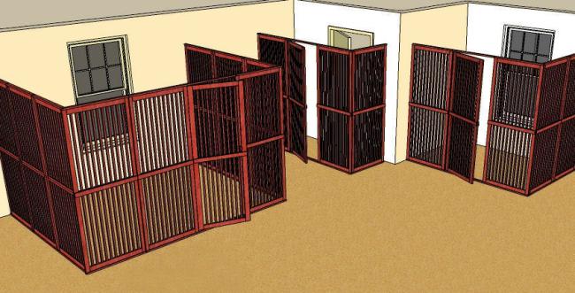 Если вы собираетесь сделать вольер для собаки своими руками, оцените, какой из вариантов возведения стен наилучший для вашего участка: с тремя стенами и независимым входом, угловой с двумя стенами и независимым входом, или с двумя стенами и входом из дома