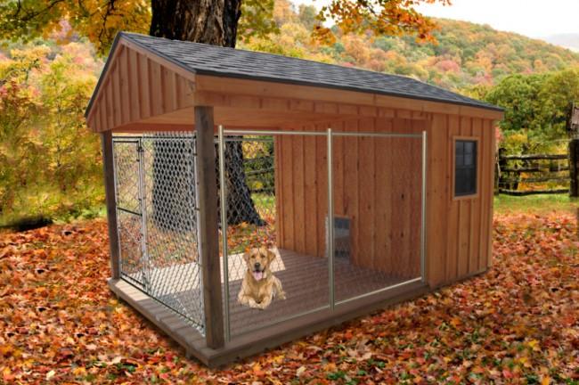 Очень желательно позаботиться о качественном утеплении крыши вольера для собаки. Чаще всего ее делают двухскатной, иногда прямой с наклоном