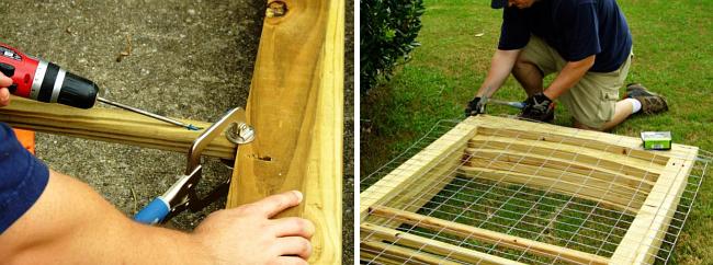 вольер для собаки своими руками. Шаг 2: собираем отдельные стеновые панели, лакируем и обшиваем их металлической сеткой