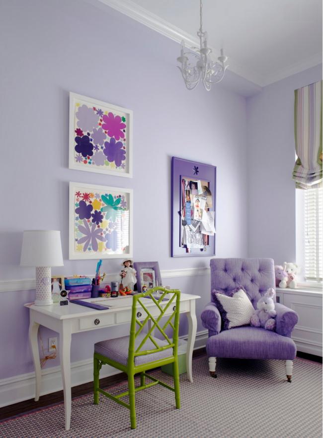 Нежная детская в фиолетовых тонах с сочным вкраплением салатового цвета