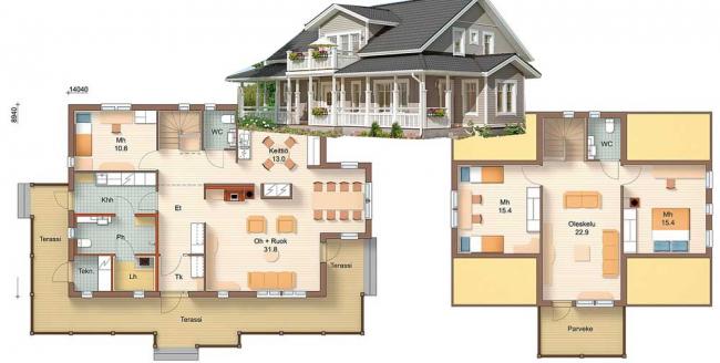 Рис. 2. Проект брусового дома с верандой и мансардой