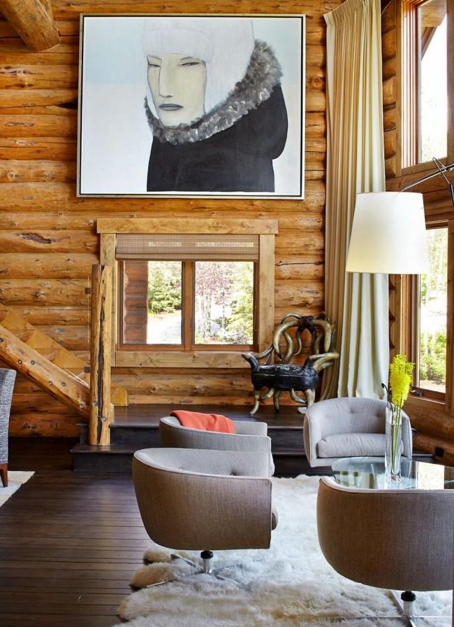 Интерьер дома из оцилиндрованного бревна в современном стиле