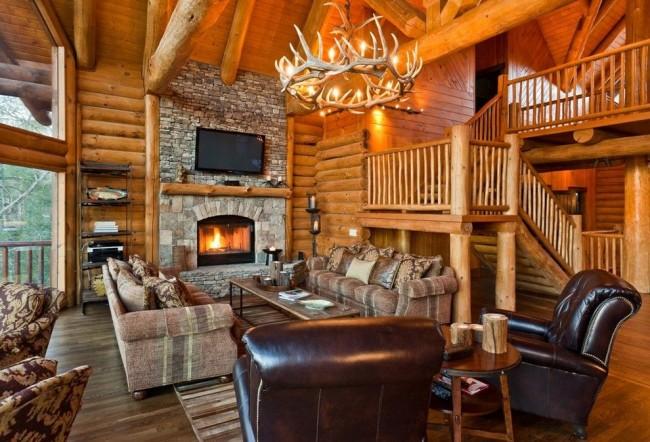 Стильный интерьер деревянной избы