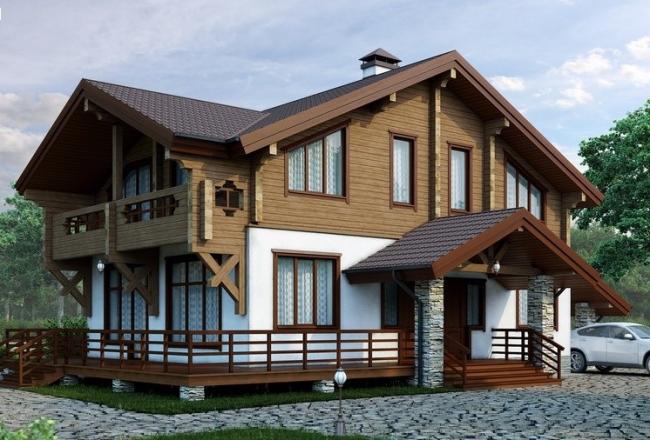 Комбинированные дома из камня и дерева. Рис. 1 Общий вид дома