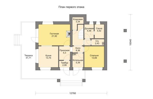 Комбинированные дома из камня и дерева. Рис.2. План первого этажа