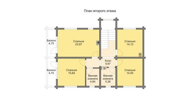 Комбинированные дома из камня и дерева. Рис. 3. План второго этажа