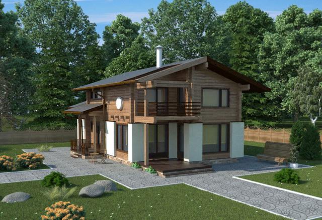 Комбинированные дома из камня и дерева. Рис. 4. Общий вид дома