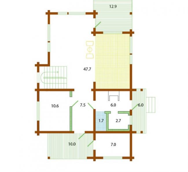 Комбинированные дома из камня и дерева. Рис.5. План первого этажа