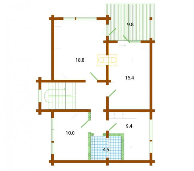 Комбинированные дома из камня и дерева. Рис. 6. План второго этажа