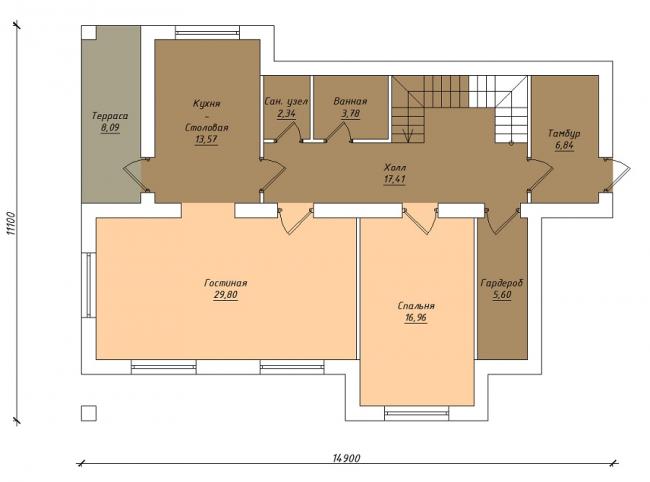 Комбинированные дома из камня и дерева. Рис. 8. План первого этажа