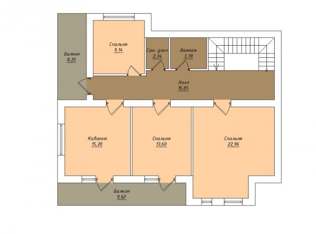 Комбинированные дома из камня и дерева. Рис. 9. План второго этажа
