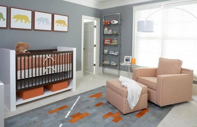 Детская комната в современном стиле с обоями под покраску
