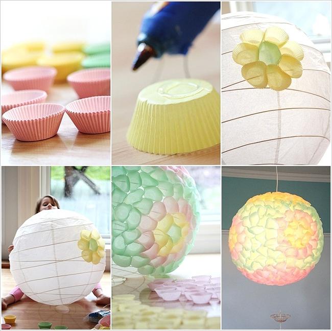 Яркая лампа из формочек для кексов