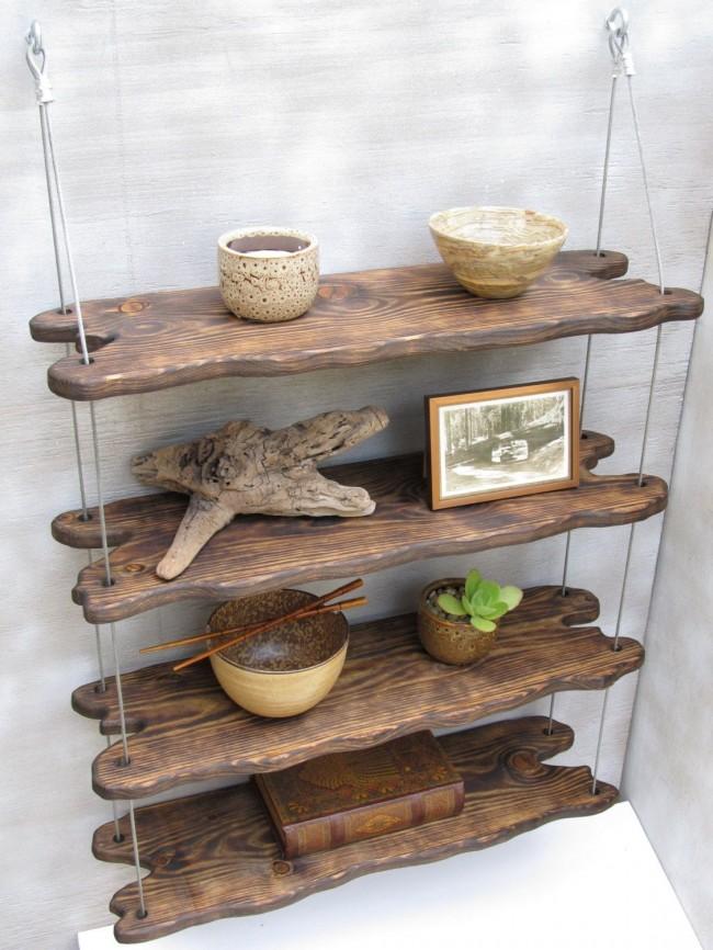 Подвесная этажерка с деревянными полками