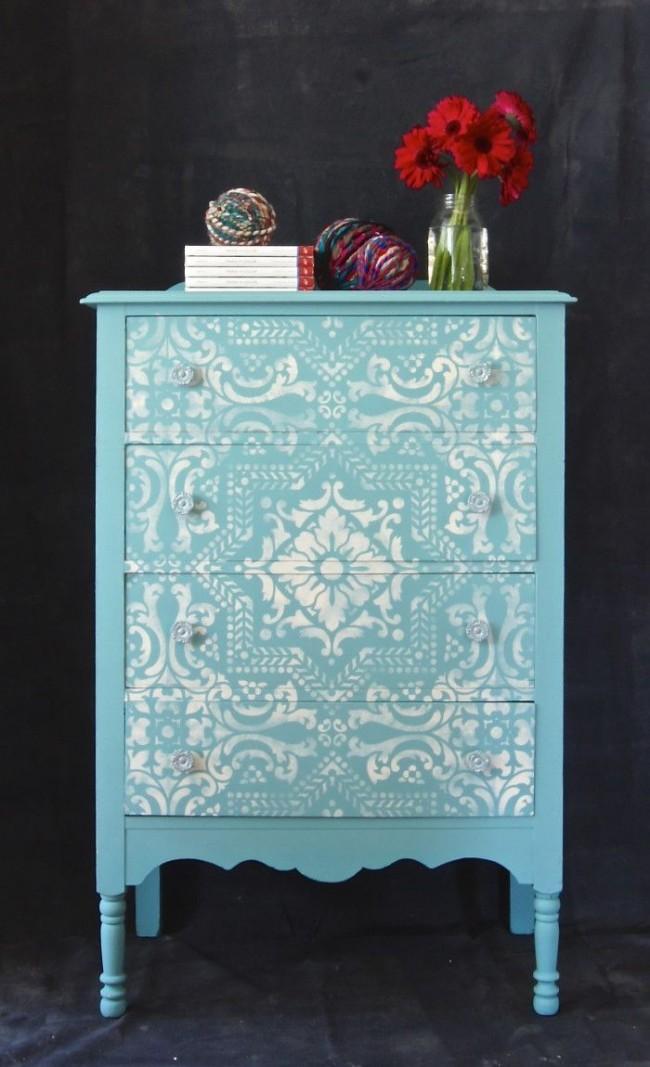 Декорирование мебели трафаретом