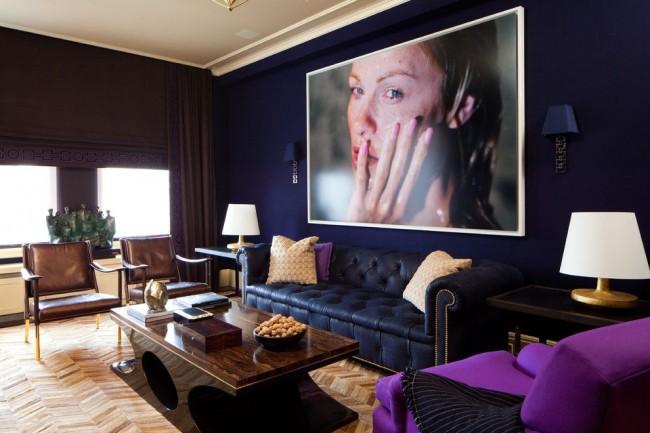 Глубокий фиолетовый в сочетании с темно-синим в классическом стиле
