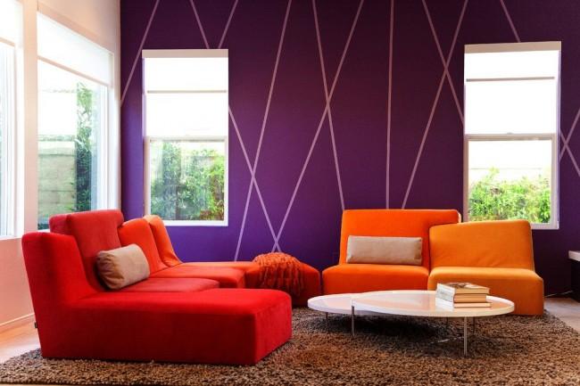 Неожиданное и очень гармоничное сочетание фиолетового с ярко-оранжевым и красным - для неординарных личностей