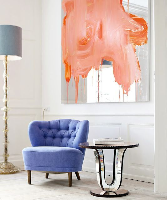 Очень красивое сочетание - чувственный персиковый и прохладный голубой