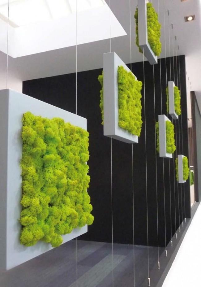 Вертикальное озеленение с помощью квадратных модулей с мхом