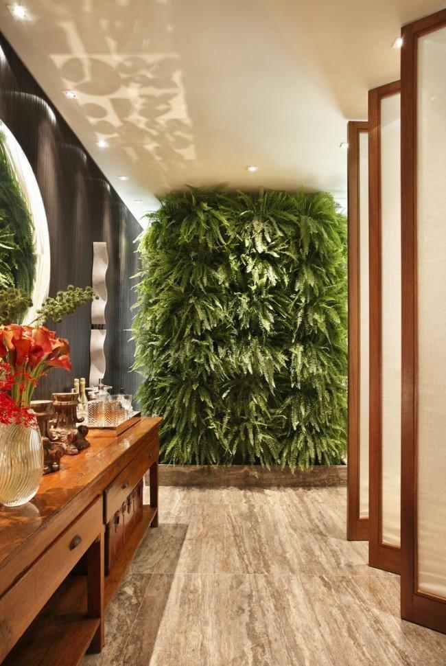 Вертикальное озеленение в ванной комнате